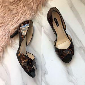 Alex Marie peep toe Leo print heels size 7
